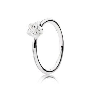 Pandora Star Silver Ring With Clear Cubic Zirconia